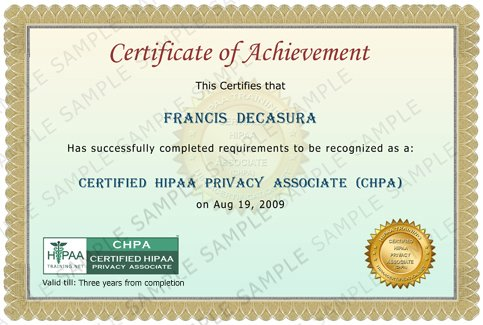 Hipaa online training hipaa certification hipaa for Hipaa training certificate template