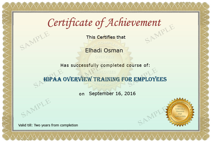 Hipaa privacy awareness and security training for for Hipaa training certificate template