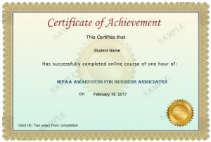 Business Associate Sample Certificate