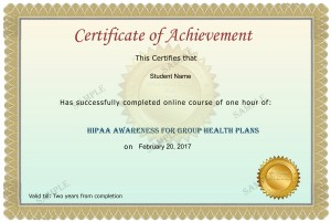 HIPAA Group Health Plan Sample Certificate