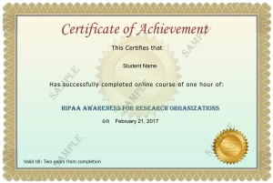 Research Organization HIPAA Certificate