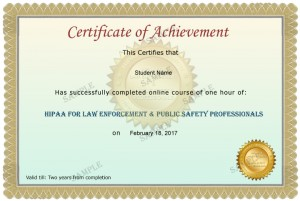 HIPAA Law Enforcement Sample Certificate